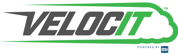 VelocIT black, white, and green corporate logo
