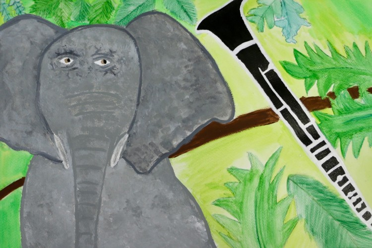 Painting of an elephant next to a clarinet and some leaves