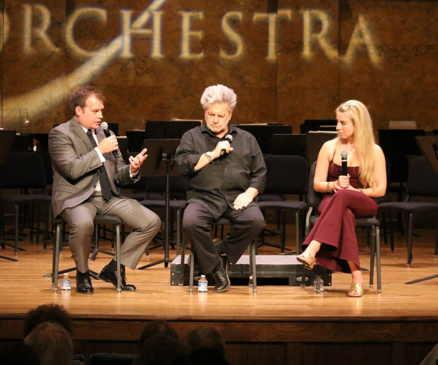 Marc Uys, Bernhard Gueller, and Natasha Paremski, seated on-stage, discussing Rachmaninoff