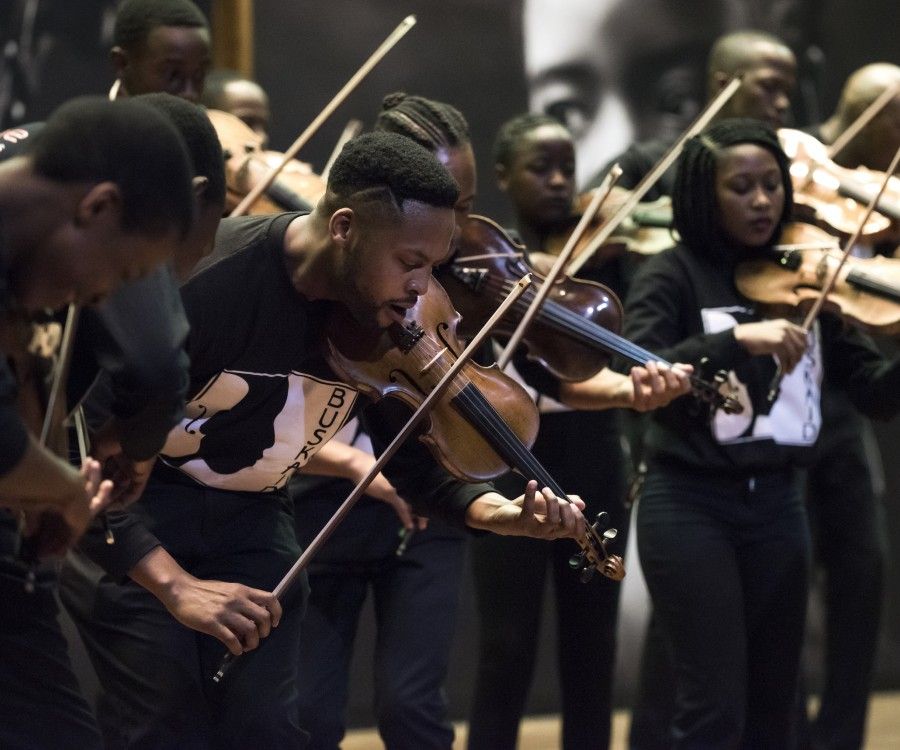 Violinists of the Buskaid Soweto String Ensemble