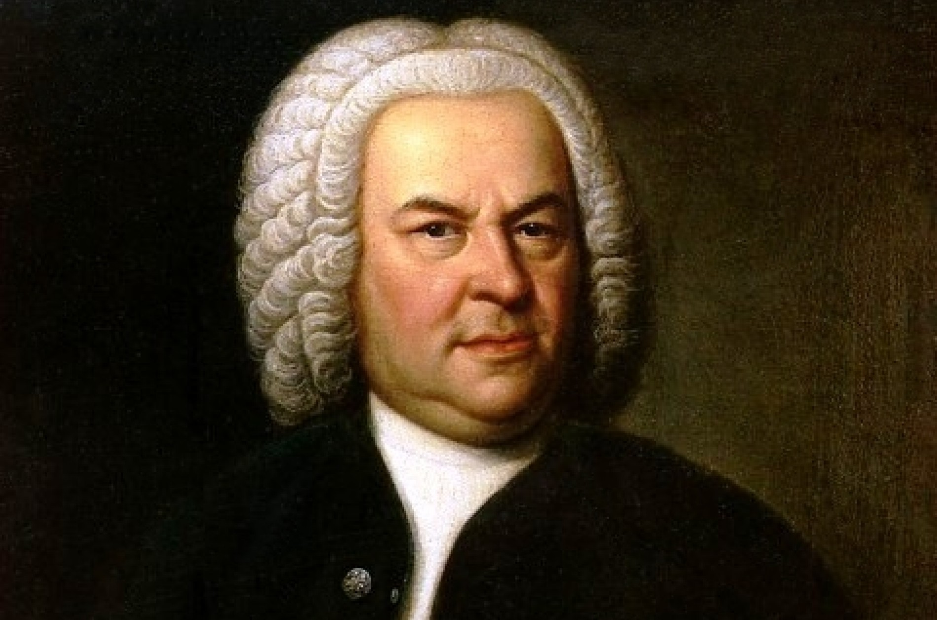 Johann Sebastian Bach (aged 61) in a portrait by Elias Gottlob Haussmann, second version of his 1746 canvas.